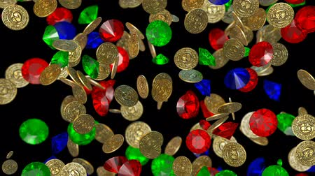 pirates : Rain of vintage gold coins. 3D render Stock Footage