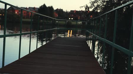 wooden bridge : Evening Summer Park Bench Stock Footage