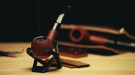 Виргиния : smoking tobacco pipe studio Стоковые видеозаписи