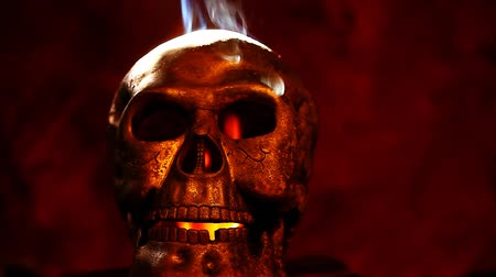 маска : Old skull natural smoke fire Стоковые видеозаписи