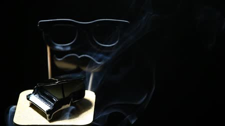 tambor : Black piano smoke dark background mask nobody hd footage