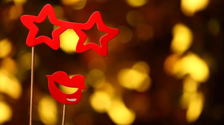 disguise : red party mask gold bokeh nobody hd footage Stock Footage