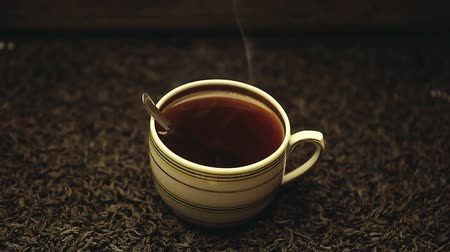 antioxidant : hot black tea cup nobody hd footage