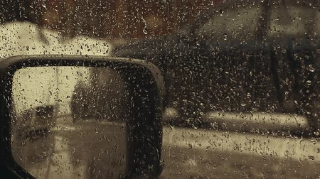 fogged : car window rain drops hd footage Stock Footage