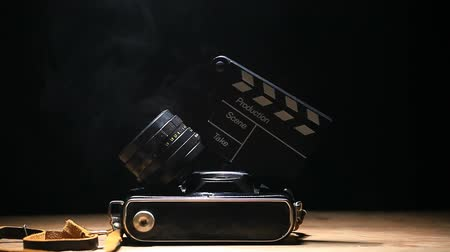 csattanás : camera clapper footage Stock mozgókép