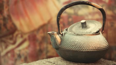 teacup : Old hot teapot nobody spring garden hd footage Stock Footage