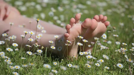 barefooted : children foot camomile field background hd footage