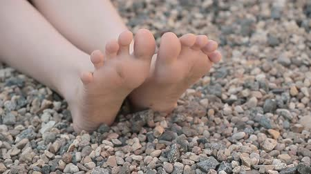 ayaklar : children girl foot stone background hd footage