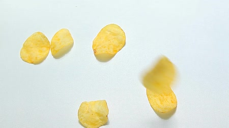 migalha : potato salt chips white background hd footage nobody Stock Footage