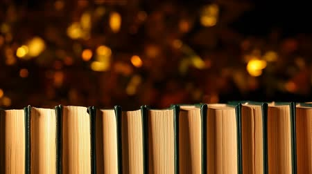 biblioteca : book wind gold bokeh dark background hd footage