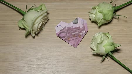money rose flower table background hd footage Stock mozgókép