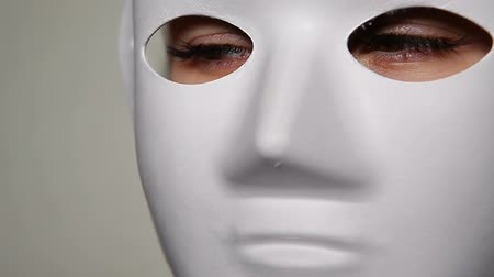 mask female eyes white background hd footage