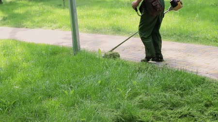 Worker mowing tall weed grass with electric or petrol lawn trimmer in city park or backyard. Gardening care tools and equipment. Process of lawn trimming with hand mower
