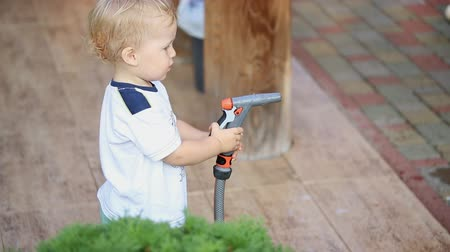 konewka : Cute adorable caucasian blond toddler boy having fun helping parents watering garden and lawn with hose and sprinkler at house backyard Wideo