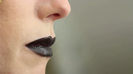 camsı : Makeup artist paints model lips. Shallow depth of field.