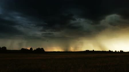 гром : Evening thunder over a farm field. Lightning bolt strike. Стоковые видеозаписи