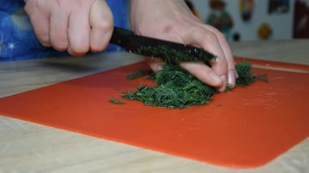 chives : A woman is cutting dill for a salad Stock Footage