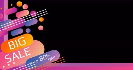 安い : 80 Big Sale Loop Animation Banner. Big Sale Promotion Campaign. Modern Design Concept. Special Price Discount Offer Banner 4k. Up to 80 off. Sticker Colorful Label Popup. Transparent background