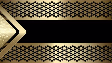 ayrılmış : Abstract geometric Video Frame Arrow textural background of golden hue with an arrow, frame and mesh grid. Black background. Stok Video