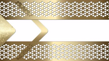 zigzag : Abstract geometric Video Frame Arrow textural background of golden hue with an arrow, frame and mesh grid. White background. Stock Footage