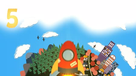 rakieta : Rocket count down introduction for children. The scene show a rocket flying up to the space.