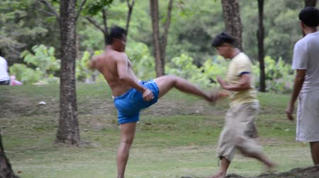 contender : BANGKOK, THAILAND - JULY 15: Two Thai fighters practice Muay Boran in the public park for everyone to watch on July 15, 2013. Muay Boran is an ancient Muay Thai used in war combat.