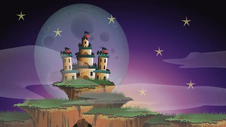 realeza : Cartoon animation of a fairy tale fantasy castle on the floating island misty world with timelapse changing from morning dawn until evening night with giant moon and star appearing in 1920 x 1080 HD quality