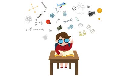 mecânica : Cartoon animation of a boy child student is reading education book on his desk with science maths chemistry biology engineering physics art and other creative knowledge icon flying until graduation in 1920x1080 HD video quality. Its learning concept in i