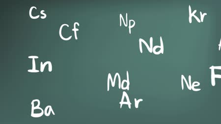 chemistry : Animation of chemistry element in the Periodic table theory formula icon moving in doodle handwriting in blackboard background used for education introduction in 1920x1080 HD quality