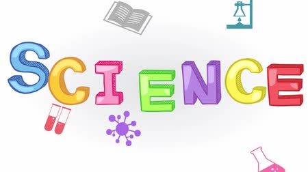 chemia : Animation of simple colorful fundamental science subject header such as physics, chemistry, astronomy, and biology with sign and symbol icon object tool moving and exploding used for education introduction in isolated background in 1920x1080 HD