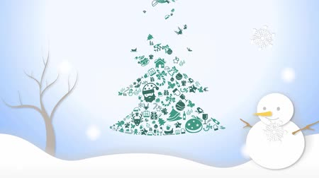 pré natal : Animation Illustration of Christmas tree ornament icon and white snowing winter landscape with snowman snowflakes falling and handwriting doodle in pale blue sky color background in 1920x1080 HD quality