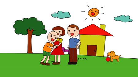 jardim : Animation cartoon of a kindergarten drawing of a child in a happy family consists of parents mum and dad and his pet dog playing in the house with love and sunny atmosphere in 1920x1080 HD