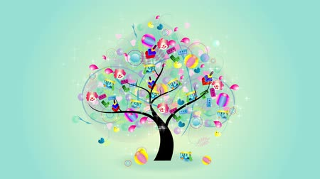 деревья : Animation of a children tree growing with toys on the branches such as model car, ball, colorful doll and TukTuk car from Thailand and other ornament hanging for kid party celebration present concept such as birthday or christmas, used for e-card and vide