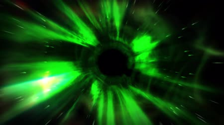 vlákno : Animation tunnel of flash green light represent warp zone, time travel, space black hole or worm hole with digital number code running representing electrical signal movement in fiber optic cable of internet telecommunications in 4k ultra HD