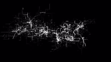 микрочип : Abstract electricity flow or electronic circuit node and grid line pattern in futuristic style in black isolated background in 4k ultra HD