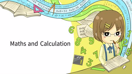 özel öğretmen : Cartoon animation background template layout of a schoolgirl student doing math and calculation homework with abstract fantasy effect and mathematic sign symbol formula icon and stationary for children education presentation media in school or website in