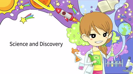 ученый : Cartoon animation background template layout of a woman scientist experimenting in a laboratory with abstract fantasy effect and science icon tool representing astronomy physics and chemistry subject flowing used for children education presentation media