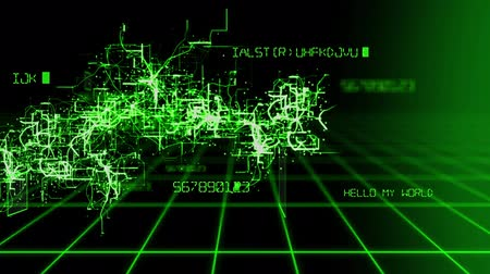 ikili : High tech abstract animation background pattern of a camera moving through digital software source code grid and inner block circuit of computer network system in green text in 4k ultra HD Stok Video