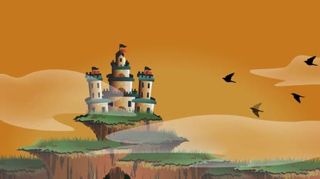 öykü : Seamless cartoon animation of a fairy tale fantasy castle on floating island misty world with timelapse changing from morning dawn until evening night with giant moon and star falling in 1920x1080 HD quality loop Stok Video