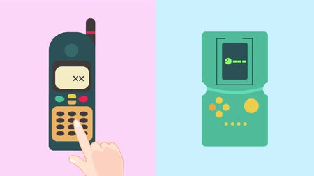 telekomünikasyon : Flat cartoon animation of old retro multimedia telecommunication technology icon design collection set in pastel color used for presentation or introduction title in 4d ultra HD motion graphic Stok Video