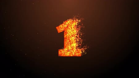 dígitos : Countdown animation from 3 to 0 with cracking stone number and fire burning into ash hot background used for introduction title presentation in 4k ultra HD video quality in extreme thrilling fire concept