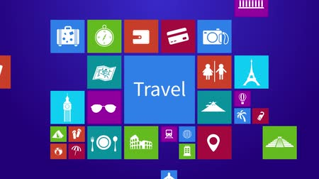geometry compass : Trendy travel transportation and tourism computer or mobile application app program animation with icon tool in colorful geometric square block with header text in 4k ultra HD
