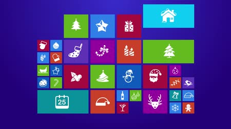holidays : Trendy Christmas and holiday festival computer or mobile application app program animation with present and event ornament icon in colorful geometric square block with in 4k ultra HD