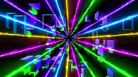 delikleri : Seamless 3d Animation of sci-fi fantasy dimensional tunnel path or warp zone time travel with laser beam and geometric polygon block zooming used for background pattern screen saver in 4k ultra HD loop