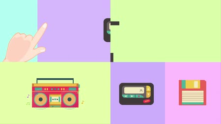 pager : Four HD cartoon animation illustration screen set of retro telecommunication media in pastel color used for presentation title in 4k ultra hd Stock Footage