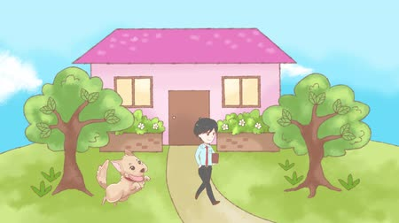fazilet : Animation doodle cartoon of a lonely dog pet waiting desperately for the family member for attention and care at the sweet home entrance in 4k. Your pet got only you heartbreaking concept.