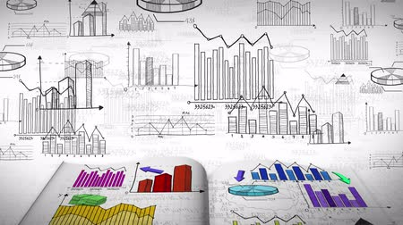 statistic : Animation of business, marketing and financial colorful statistic information doodle such as graph chart and diagram in a notebook document report used for education and presentation title in 4k ultra HD loop