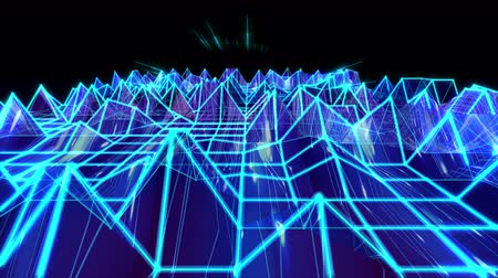 forma : 3D abstract animation of blue triangular sound wave geometric polygon wireframe terrain moving and bouncing in a wave form equalizer with light beam shooting used for background concept in 4k