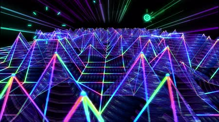 местность : Seamless 3D abstract animation of colorful triangular sound wave geometric polygon wireframe terrain moving in a wave form equalizer with light beam and elements shooting used for background concept in 4k Стоковые видеозаписи
