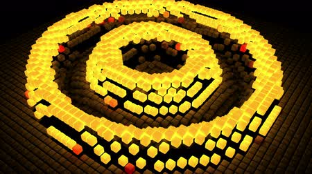 alargamento : Seamless 3D geometric gold abstract polygon square block pixel moving and expanding in ripple circle 4k ultra HD Stock Footage